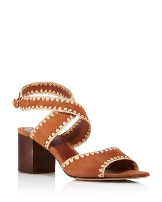 37f16baed3d6 Tory Burch - Brown Women s Arianne Suede Block Heel Sandals - Lyst ...