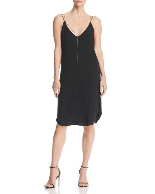 Kenneth Cole - Black Chain Detail Slip Dress - Lyst