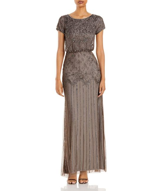 Adrianna Papell Gray Embellished Gown
