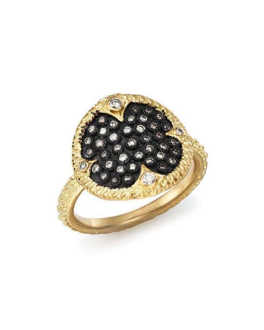 Armenta - Metallic Blackened Sterling Silver & 18k Yellow Gold Old World Pavé Champagne Diamond Disc Ring - Lyst