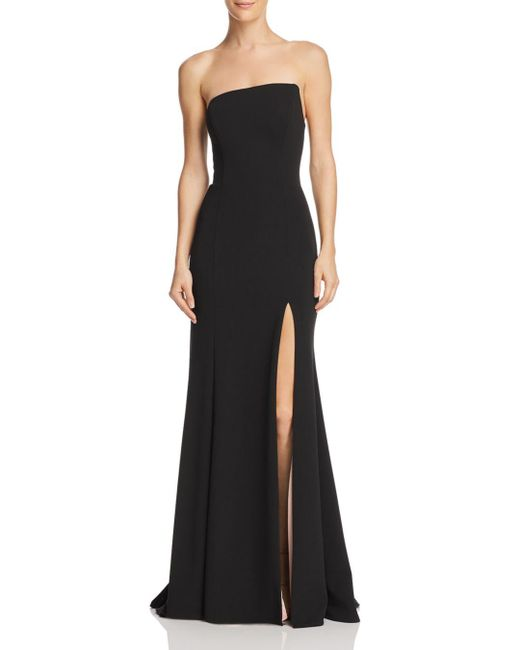 Aqua - Black Strapless Scuba-crepe Gown - Lyst
