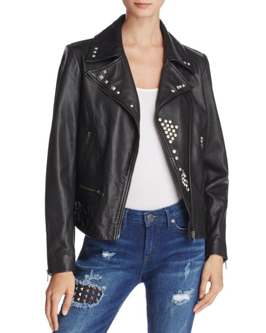True Religion - Black Studded Leather Jacket - Lyst