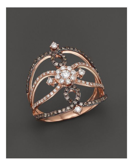 KC Designs | Metallic Champagne And White Diamond Ring In 14k Rose Gold | Lyst