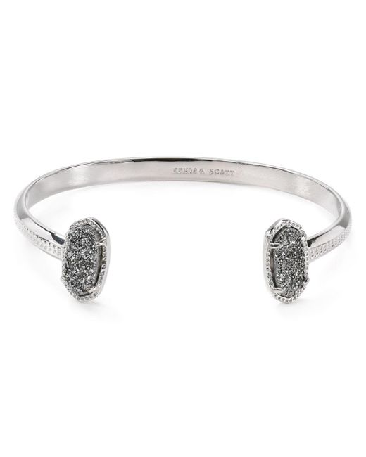 Kendra Scott - Metallic Elton Rhodium-plated And Black Mother-of-pearl Cuff Bracelet - Lyst