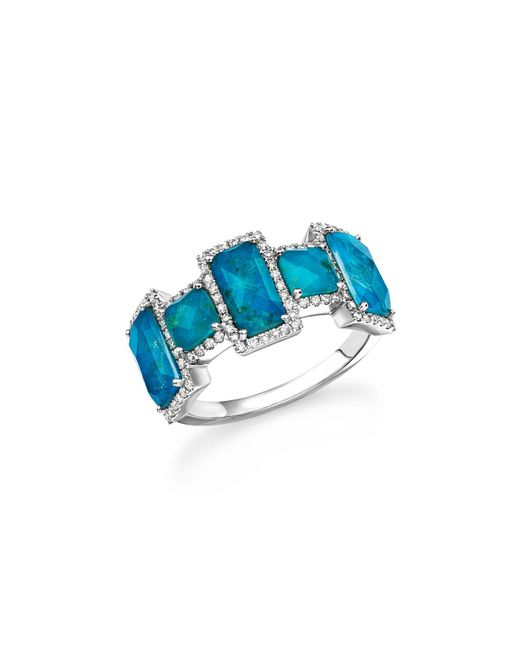 Meira T | Multicolor 14k White Gold Chrysocolla Doublet And Diamond Ring | Lyst