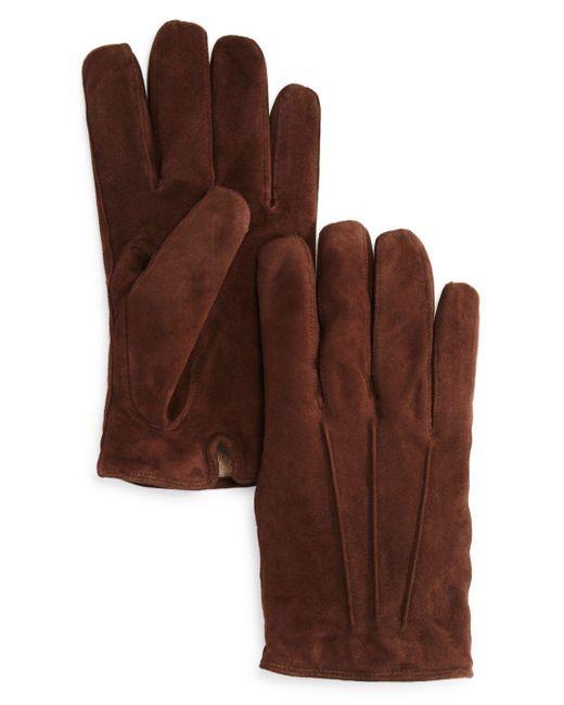Bloomingdale's Brown Three - Cord Suede Gloves for men