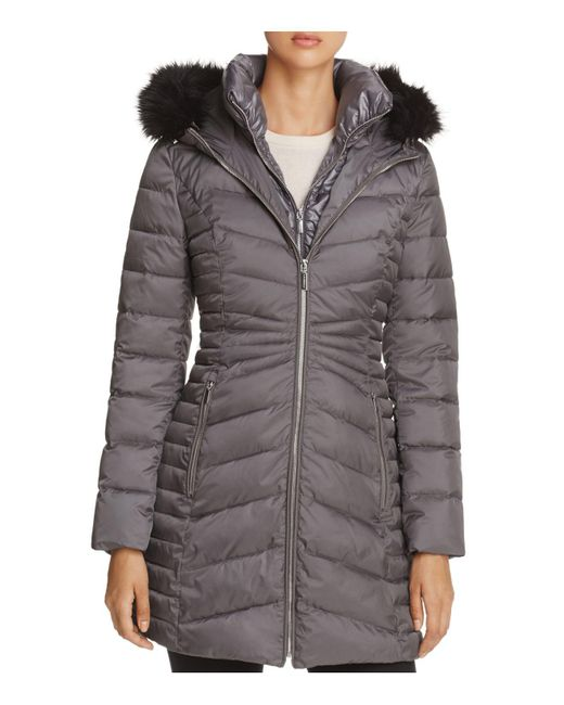 Laundry by Shelli Segal | Gray Mixed Quilt Puffer Jacket | Lyst