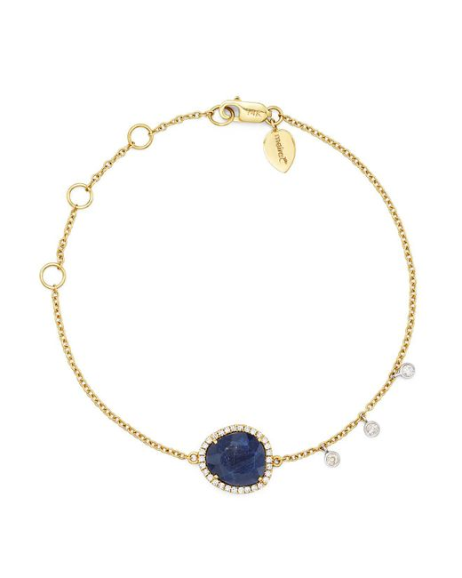 Meira T - 14k Yellow And White Gold Sapphire Bracelet With Diamonds - Lyst