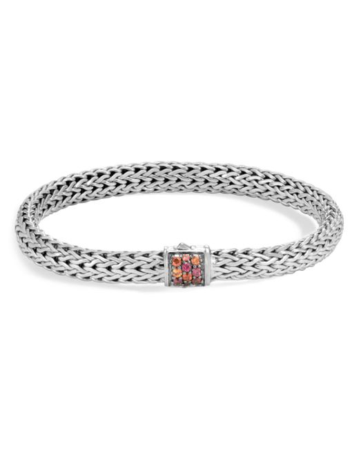 John Hardy - Metallic Sterling Silver Classic Chain Lava Small Bracelet With Garnet - Lyst