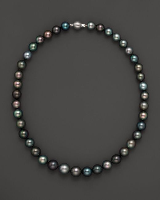 "Bloomingdale's - Metallic Natural Color Tahitian Pearl And 14k White Gold Strand Necklace, 18"" - Lyst"