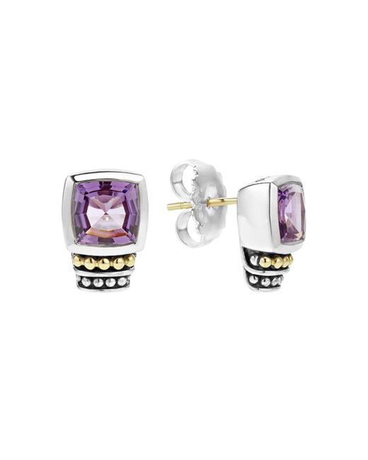 Lagos - Metallic 18k Gold And Sterling Silver Caviar Color Stud Earrings With Amethyst - Lyst