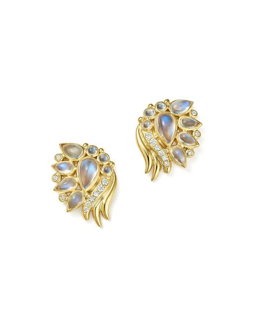Temple St. Clair | Metallic 18k Yellow Gold Diamond And Royal Blue Moonstone Wing Earrings | Lyst