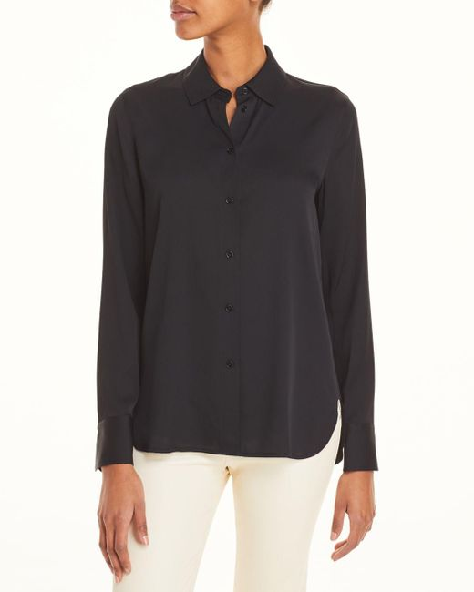 Vince Black Slim Fitted Blouse