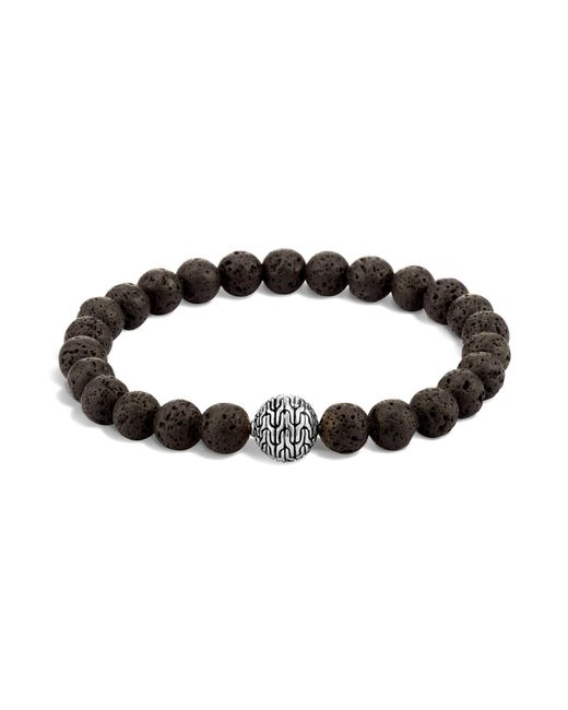 John Hardy - Men's Sterling Silver Classic Chain Large Beaded Bracelet With Black Volcanic Rock for Men - Lyst