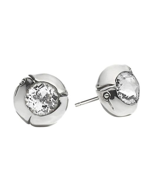 John Hardy - Metallic Sterling Silver Bamboo Small Round Stud Earrings With White Topaz - Lyst