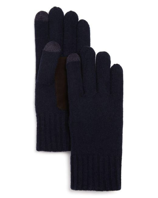 Bloomingdale's Blue Suede Patch Tech Gloves for men