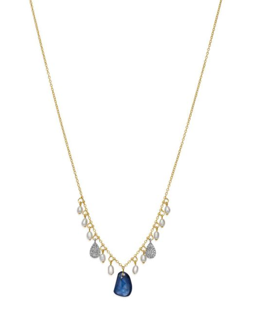 Meira T - Metallic Cultured Freshwater Pearl & Diamond Dangle Necklace - Lyst