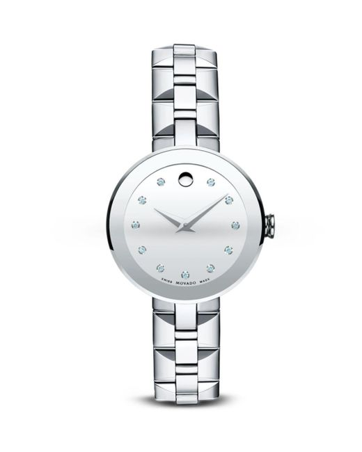 Movado Metallic Sapphire? Stainless Steel Watch With Diamonds