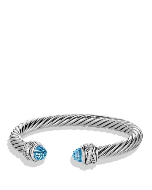 David Yurman - Metallic Crossover Bracelet With Diamonds And Blue Topaz In Silver - Lyst