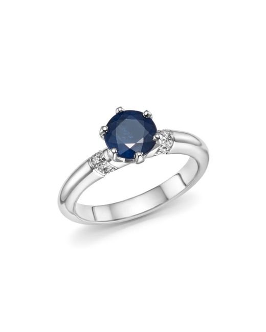 Roberto Coin - Blue Platinum Solitaire Sapphire And Diamond Ring - Lyst