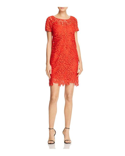 MILLY - Red Chloe Lace Dress - Lyst