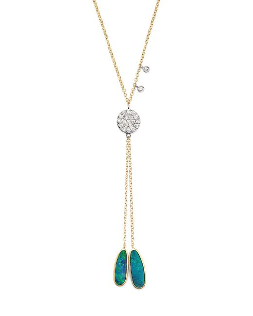 Meira T - Metallic Opal And Diamond Disc Lariat Necklace - Lyst