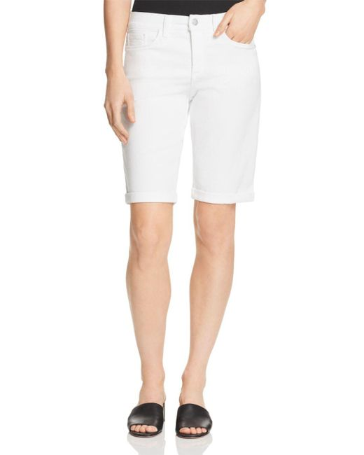 NYDJ - Briella Roll Cuff Denim Bermuda Shorts In Optic White - Lyst