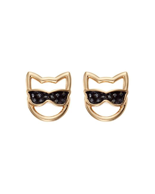 Karl Lagerfeld Metallic Choupette In Sunglasses Stud Earrings