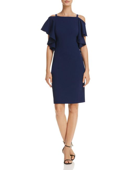 Adrianna Papell - Blue Cold-shoulder Sheath Dress - Lyst