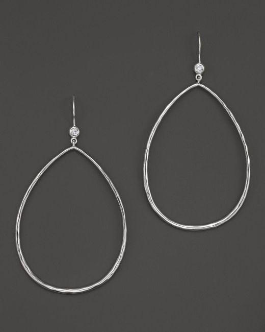 Ippolita - Metallic Sterling Silver Large Open Teardrop Earrings With Diamonds - Lyst