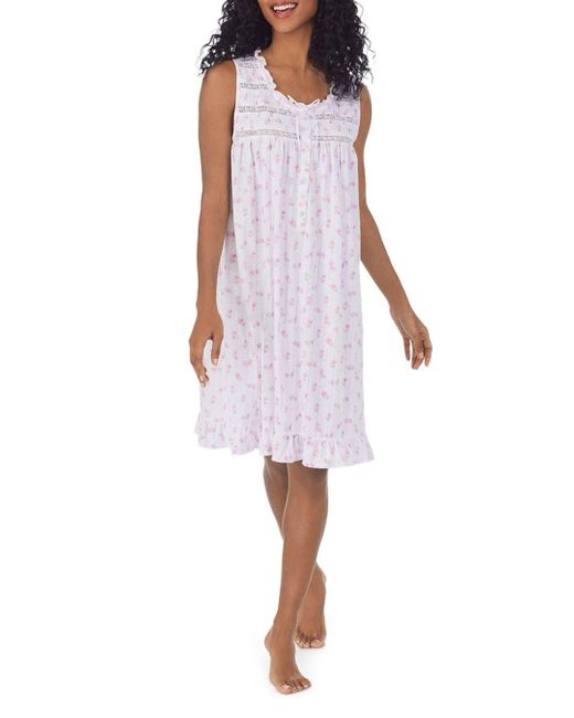 Eileen West Multicolor Printed Lace Trim Nightgown