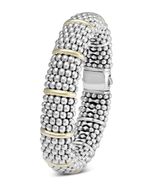 Lagos Metallic Sterling Silver Signature Caviar Bracelet With 18k Yellow Gold Stations