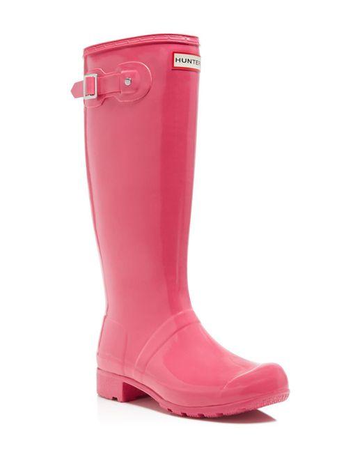 Hunter   Pink Original Tour Gloss Rain Boots   Lyst