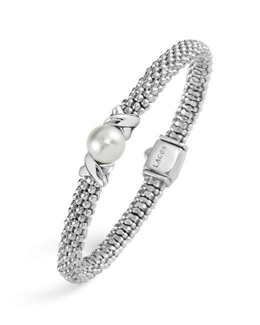 Lagos - Metallic Enso Sterling Silver Caviar Bracelet With Diamonds - Lyst