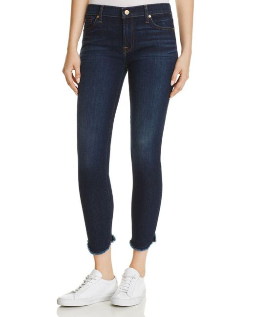 7 For All Mankind - Blue Ankle Skinny Jeans In Midnight Moon - Lyst