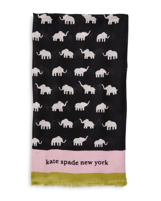 Kate Spade Black Elephant Oblong Scarf