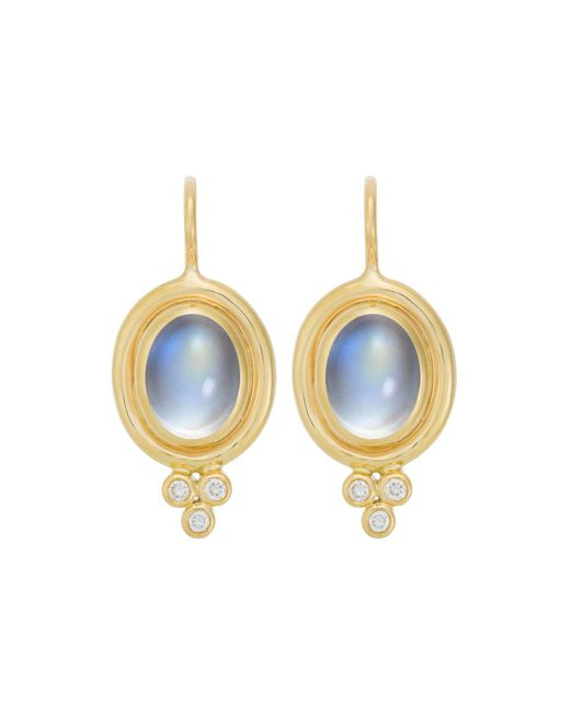 Temple St. Clair | 18k Yellow Gold Classic Oval Earrings With Cabochon Royal Blue Moonstone And Diamond Granulation | Lyst