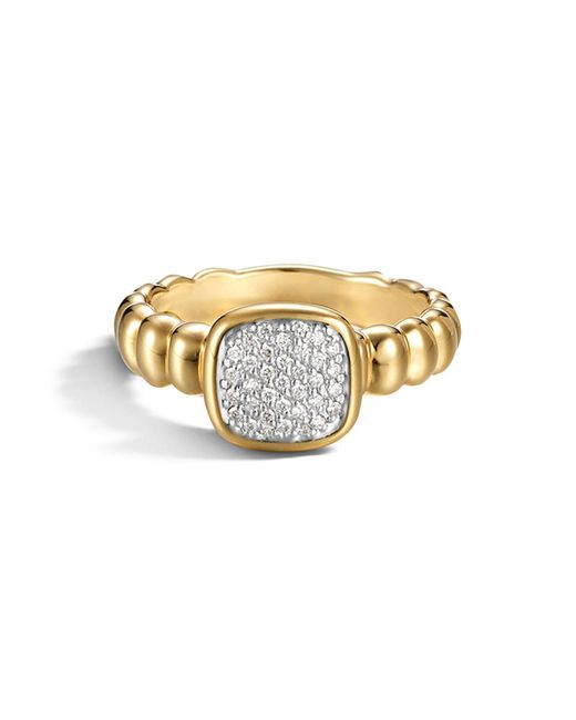 John Hardy | Metallic Bedeg 18k Gold And Diamond Pavé Square Station Slim Ring | Lyst