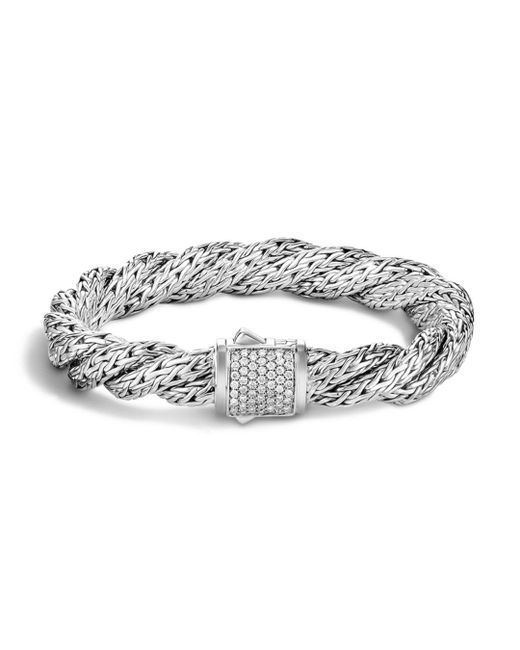 John Hardy - White Classic Chain Sterling Silver Medium Flat Twisted Chain Bracelet With Diamond Pavé - Lyst