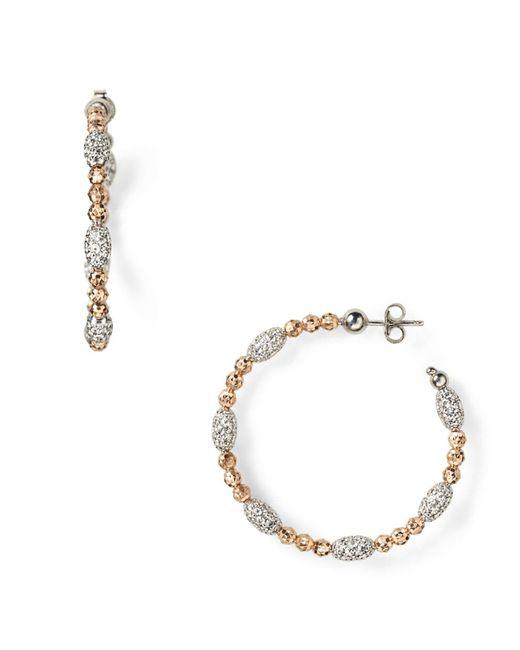 "Officina Bernardi   Pink ""moon"" Oval Bead Medium Hoop Earrings   Lyst"