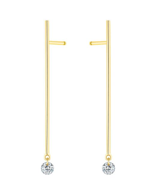 La Brune Et La Blonde | Metallic 18k Yellow Gold 360 Diamond Stick Drop Earrings | Lyst