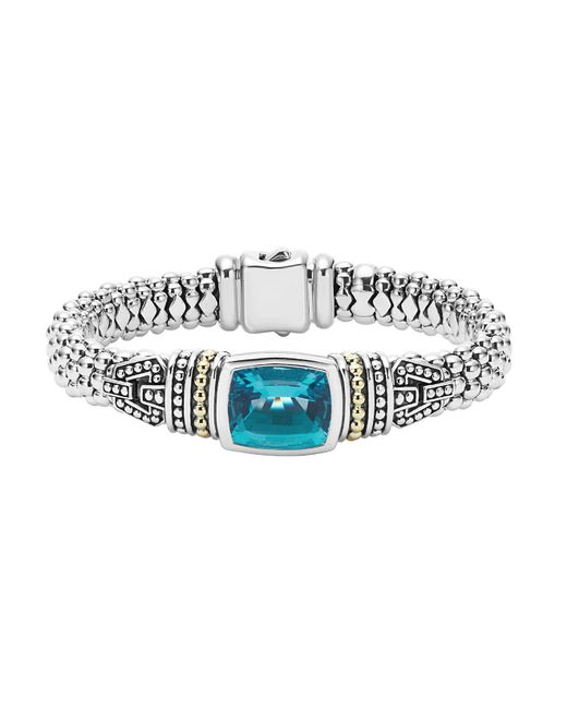 Lagos | Metallic 18k Gold And Sterling Silver Caviar Color Bezel Bracelet With London Blue Topaz | Lyst