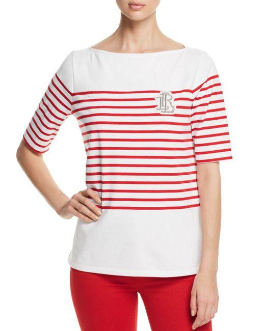 Ralph Lauren - Multicolor Lauren Striped Boatneck Tee - Lyst
