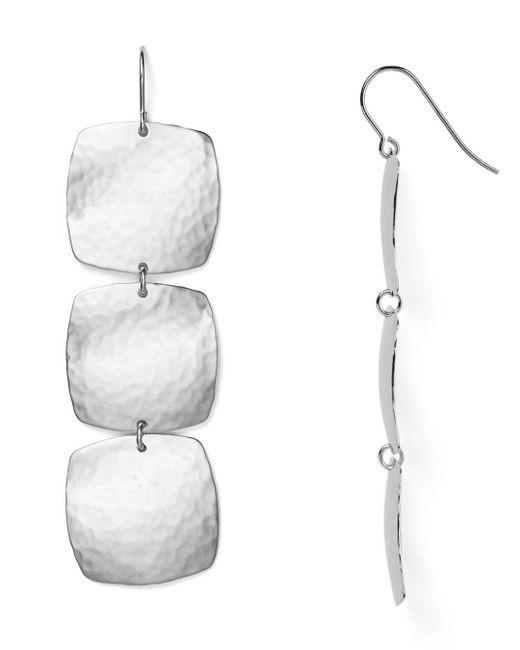 Bloomingdale's Metallic Sterling Silver Hammered Cushion Drop Earrings