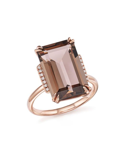 Bloomingdale's - Metallic Smoky Quartz And Diamond Ring In 14k Rose Gold - Lyst