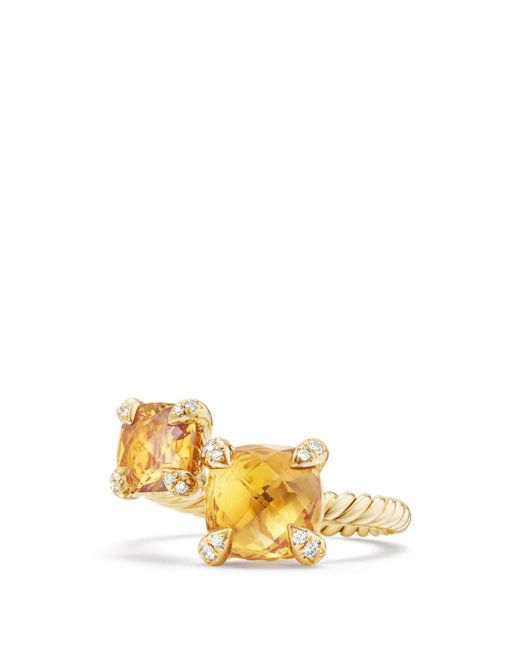 David Yurman - Metallic Châtelaine Bypass Ring With Citrine & Diamonds In 18k Gold - Lyst