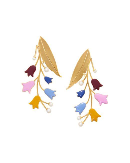 Tory Burch - Multicolor Bellflower Statement Drop Earrings - Lyst