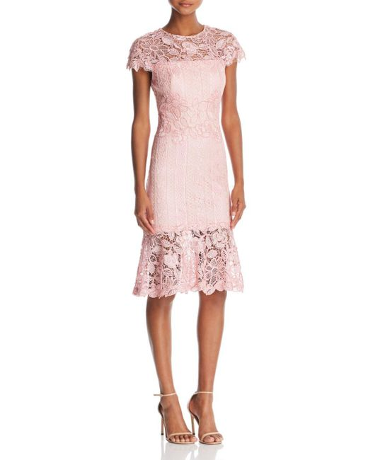 Tadashi Shoji - Pink Lace Flounce-hem Dress - Lyst