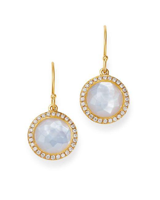 Ippolita Metallic 18k Yellow Gold Lollipop Mother - Of - Pearl & Pavé Diamond Mini Drop Earrings