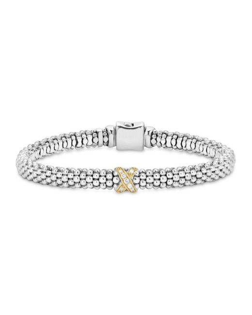 Lagos - Metallic 18k Gold And Sterling Silver X Collection Rope Bracelet With Diamonds - Lyst